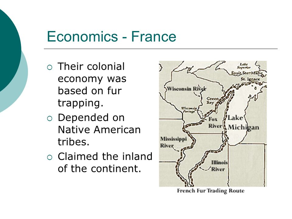 Economics - France Their colonial economy was based on fur trapping.