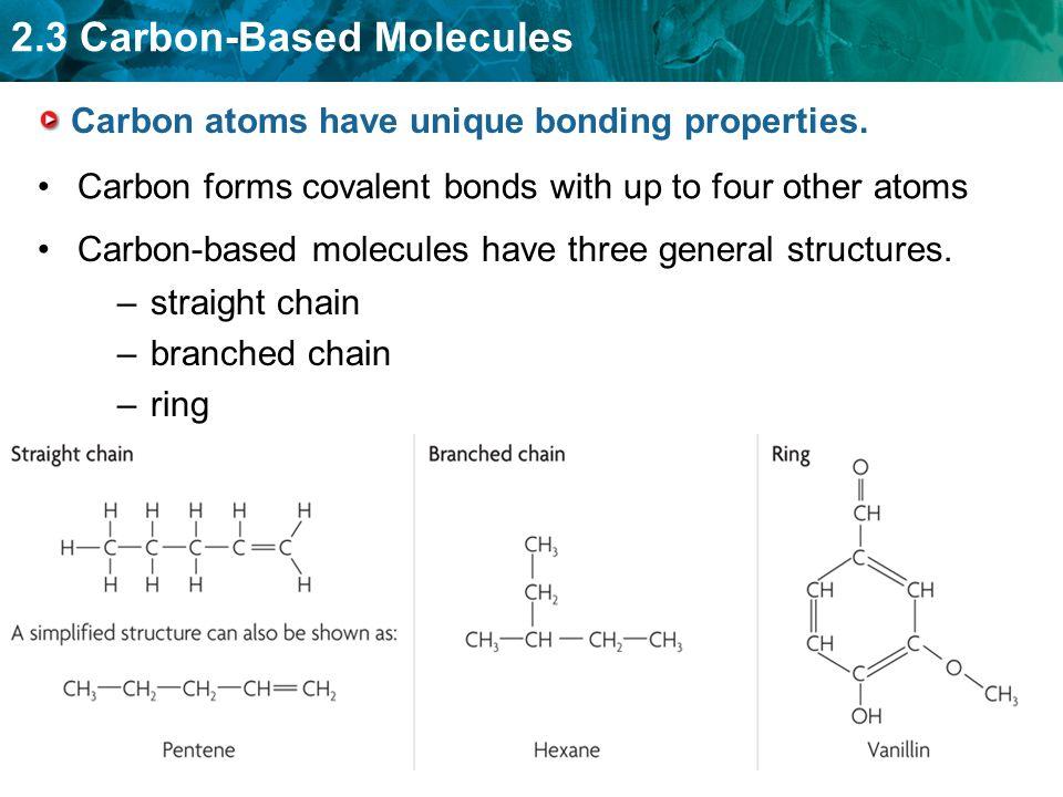 Carbon atoms have unique bonding properties.