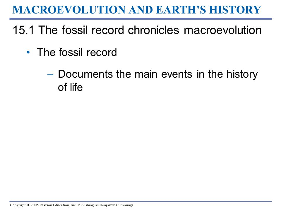 MACROEVOLUTION AND EARTH'S HISTORY