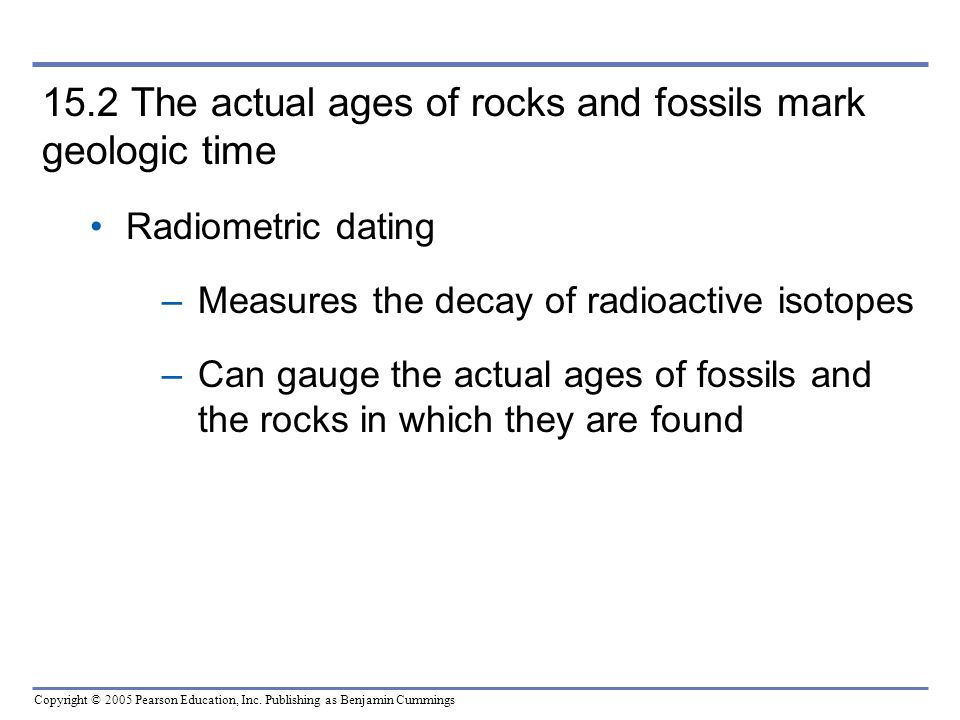 15.2 The actual ages of rocks and fossils mark geologic time