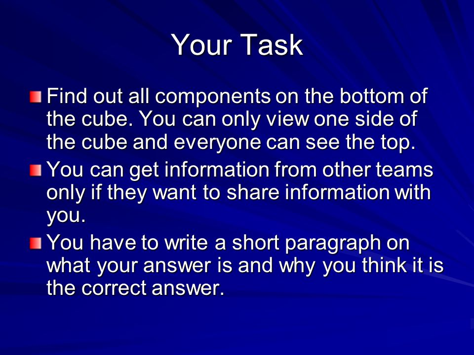 Your Task Find out all components on the bottom of the cube. You can only view one side of the cube and everyone can see the top.
