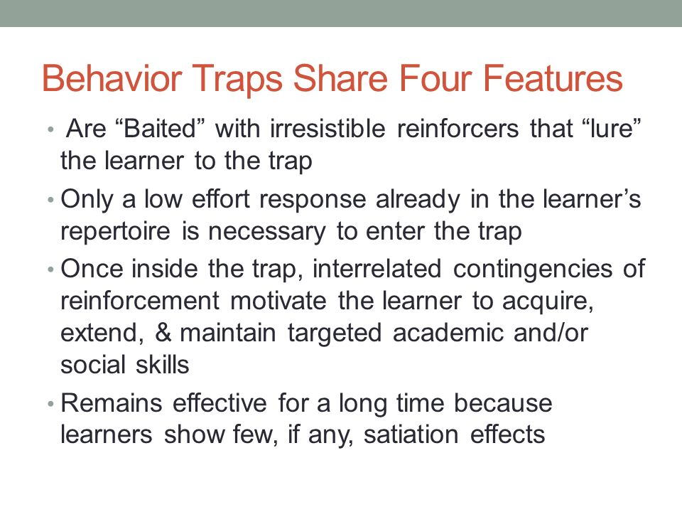 behavorial traps 5 different types of behavioral traps add remove from our learning this unit we discovered that there are 5 different types of behavioral traps the (1) time delay trap, (2) investment trap, (3) deterioration trap, (4) ignorance trap, (5) collective trap.