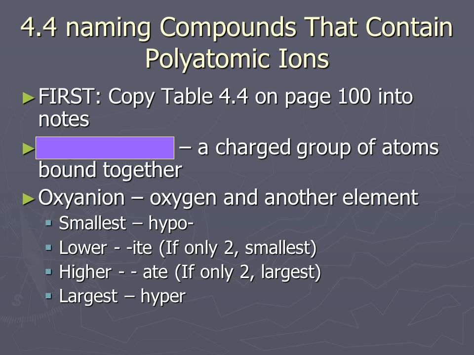4.4 naming Compounds That Contain Polyatomic Ions
