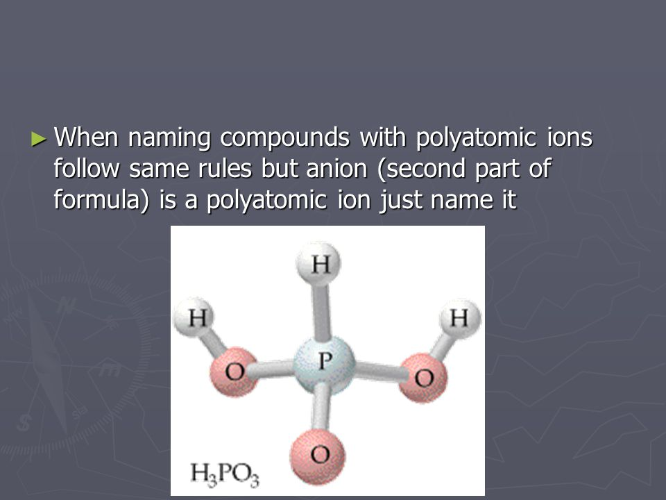 When naming compounds with polyatomic ions follow same rules but anion (second part of formula) is a polyatomic ion just name it