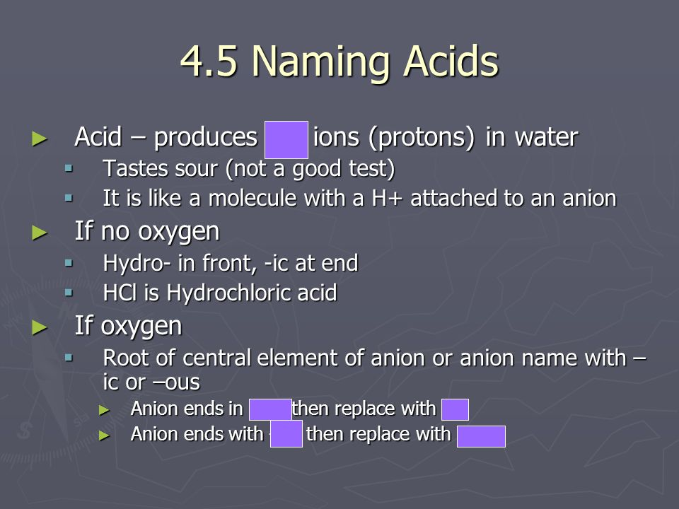 4.5 Naming Acids Acid – produces H+ ions (protons) in water