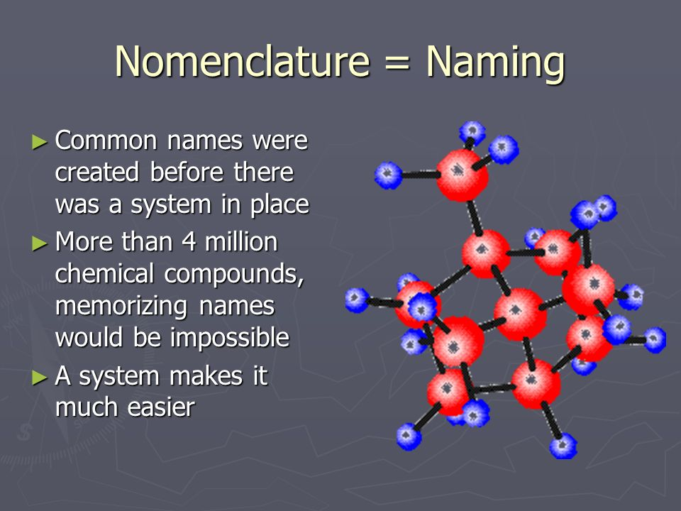 Nomenclature = Naming Common names were created before there was a system in place.