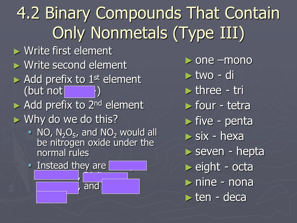 4.2 Binary Compounds That Contain Only Nonmetals (Type III)