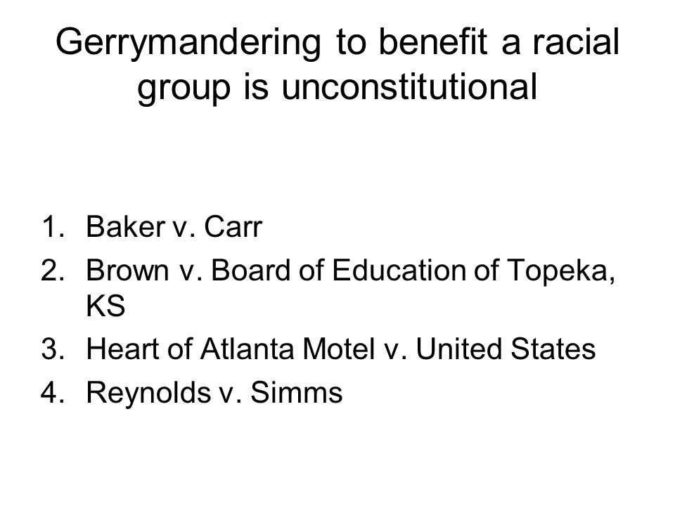 Gerrymandering to benefit a racial group is unconstitutional