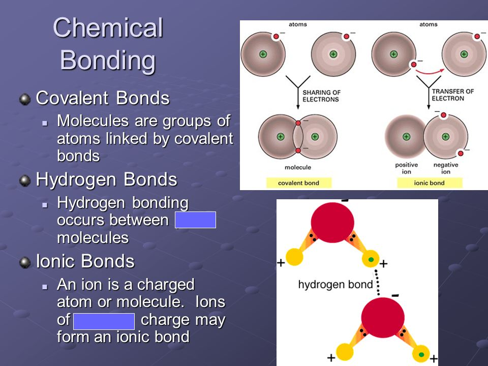 Chemical Bonding Covalent Bonds Hydrogen Bonds Ionic Bonds