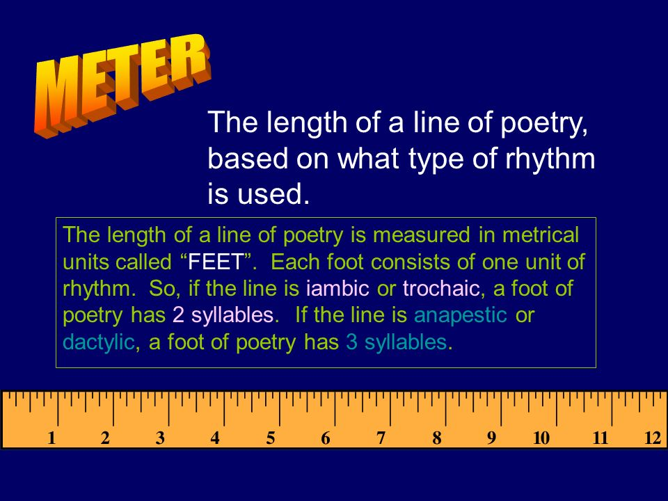 METER The length of a line of poetry, based on what type of rhythm is used.