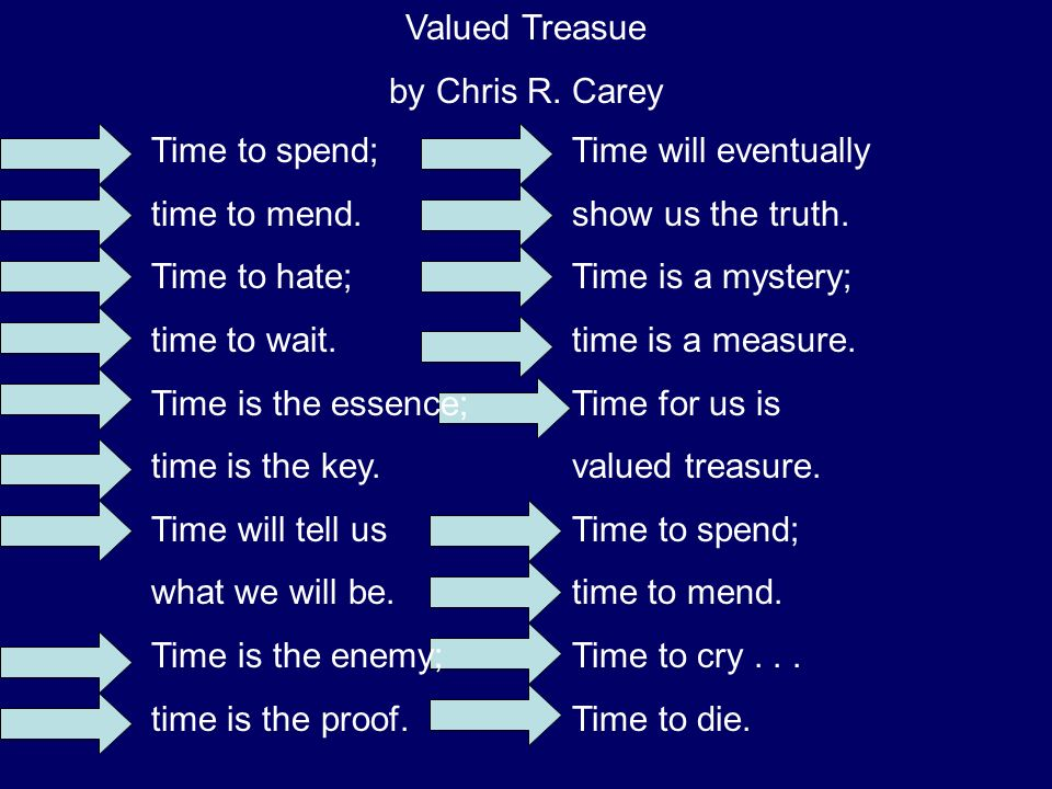 Time to spend; time to mend. Time to hate; time to wait. Time is the essence; time is the key. Time will tell us.