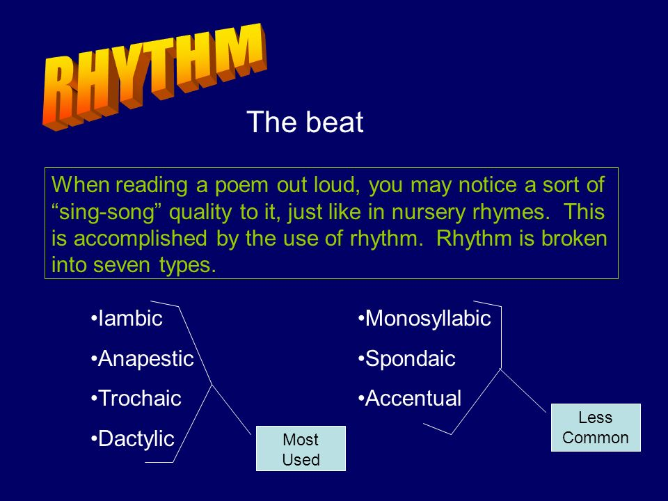 RHYTHM The beat.