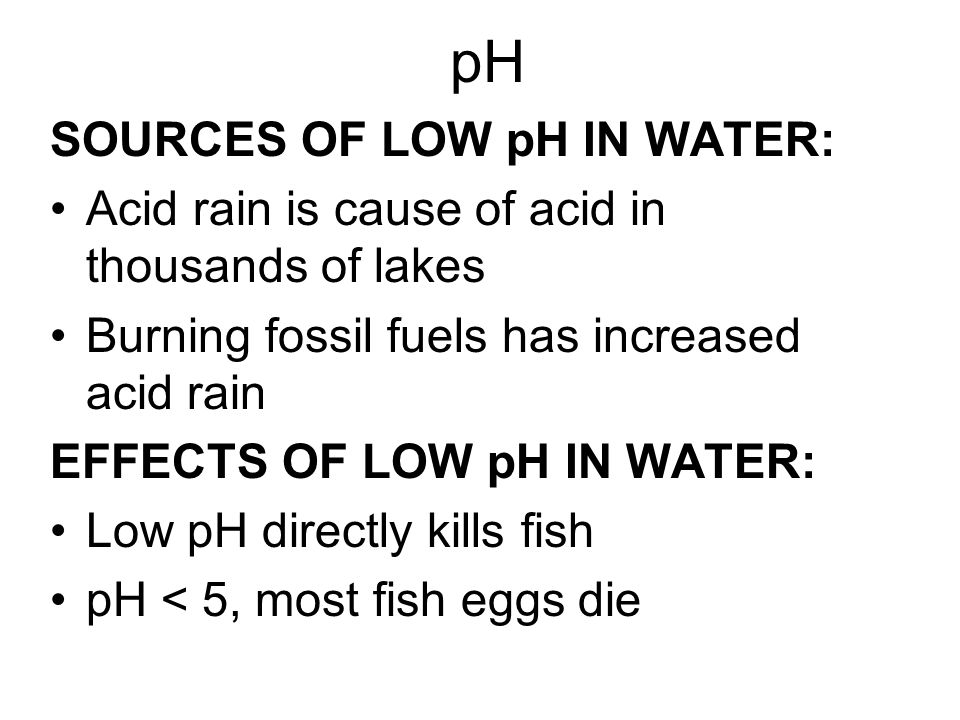 pH SOURCES OF LOW pH IN WATER: