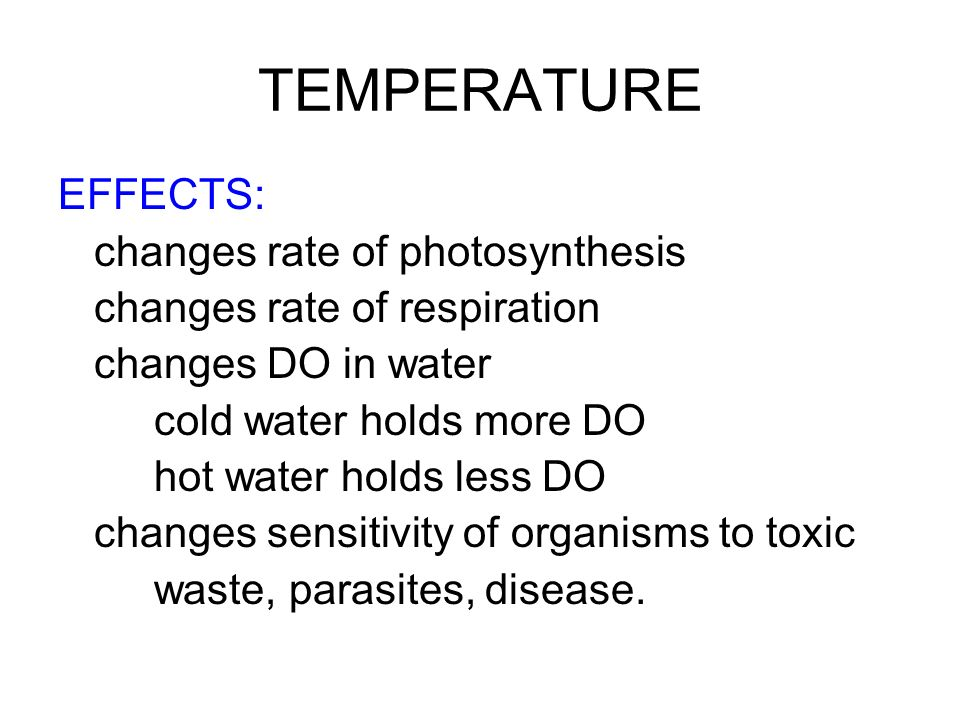 TEMPERATURE EFFECTS: changes rate of photosynthesis