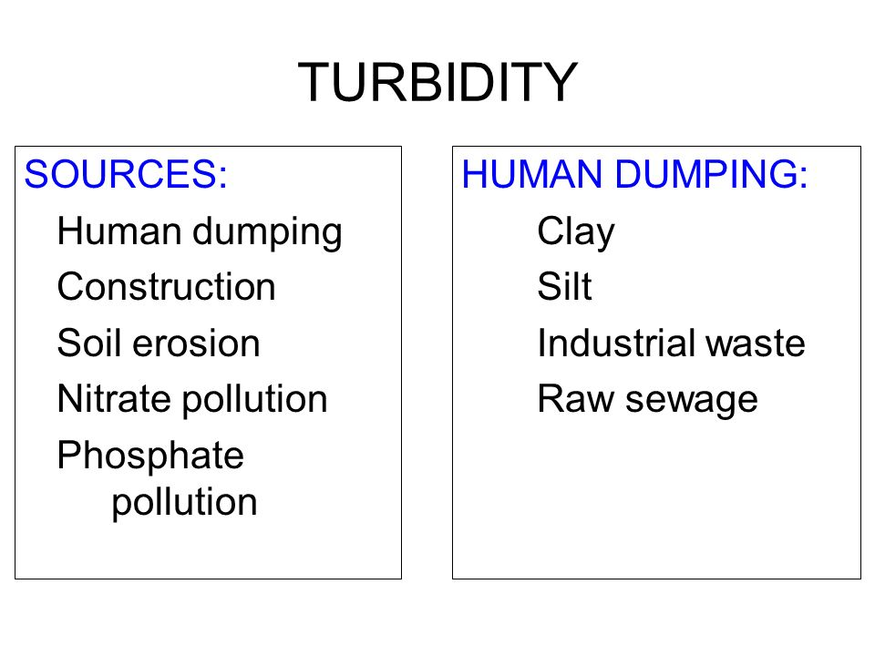 TURBIDITY SOURCES: Human dumping Construction Soil erosion