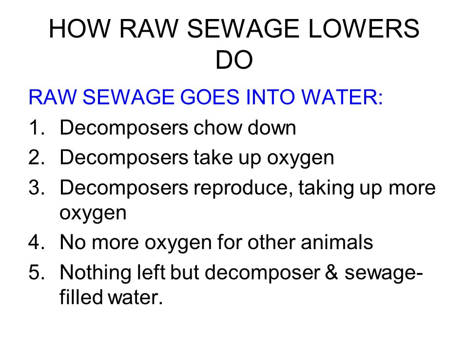 HOW RAW SEWAGE LOWERS DO