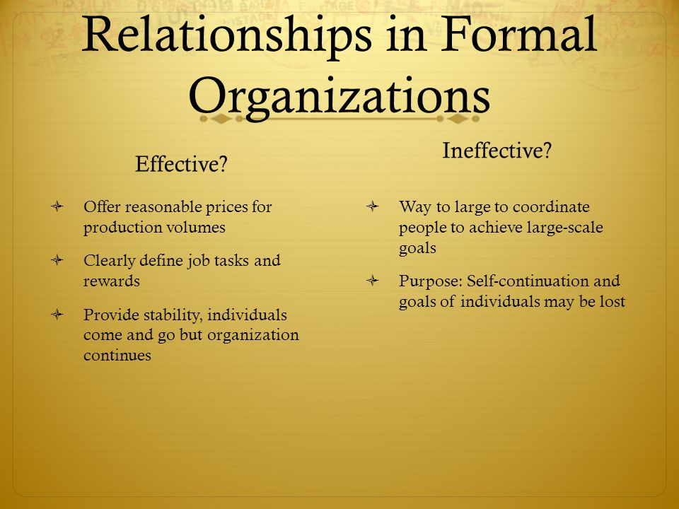 Relationships in Formal Organizations