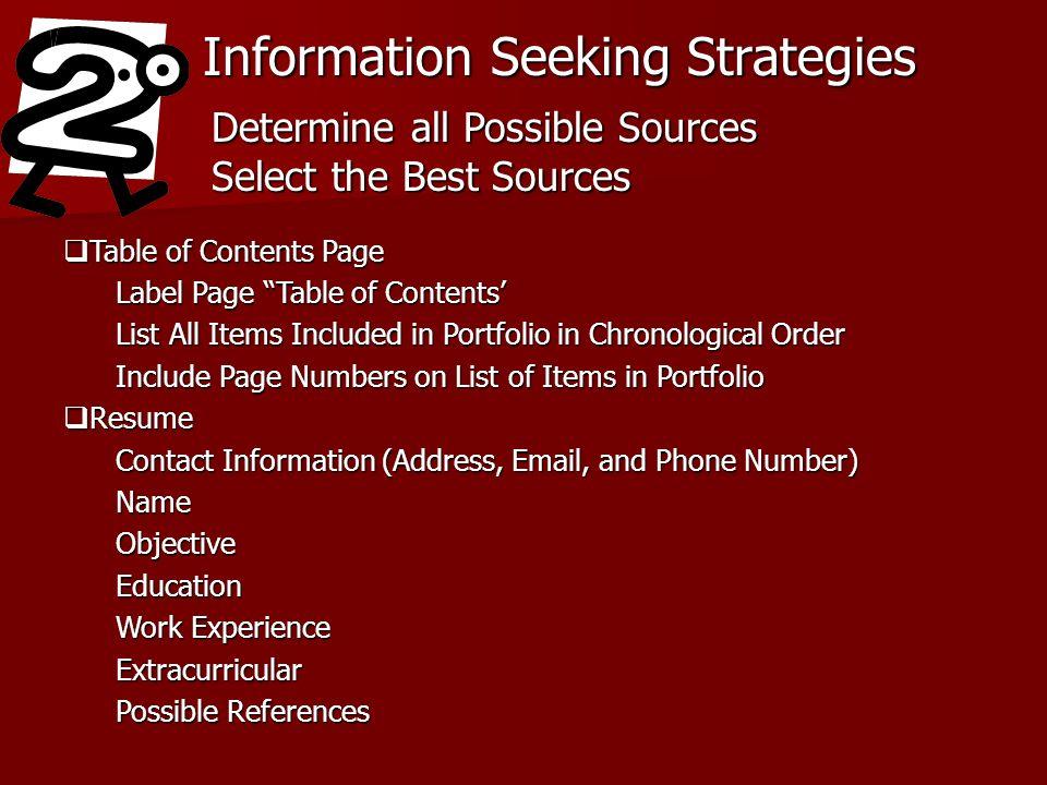 Information Seeking Strategies