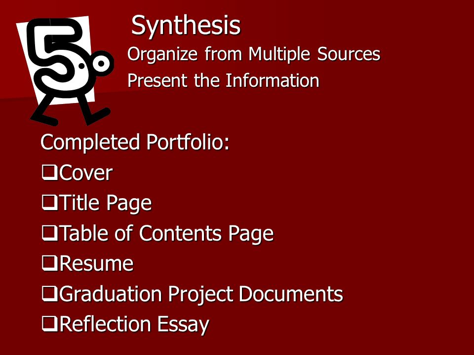 Synthesis Completed Portfolio: Cover Title Page Table of Contents Page