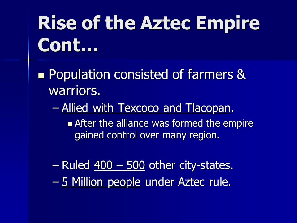 the rise of the aztec empire essay Misinterpretation of what is asked in the standard essay questions can  analyze  similarities and differences in the rise of two of the following empires   between aztecs an mongols but failed to explain how each empire.
