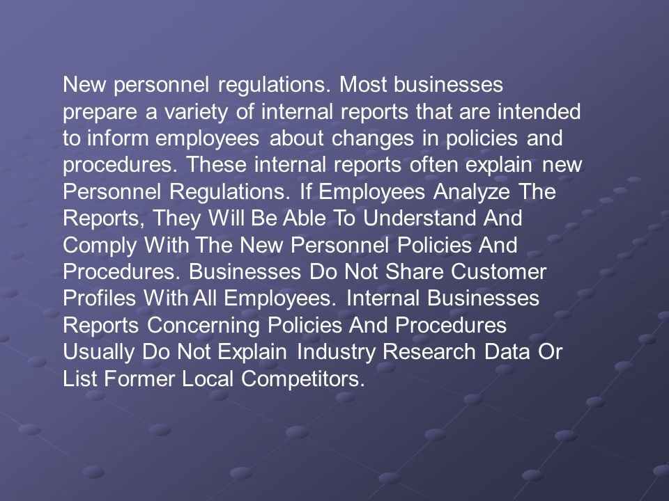 New personnel regulations