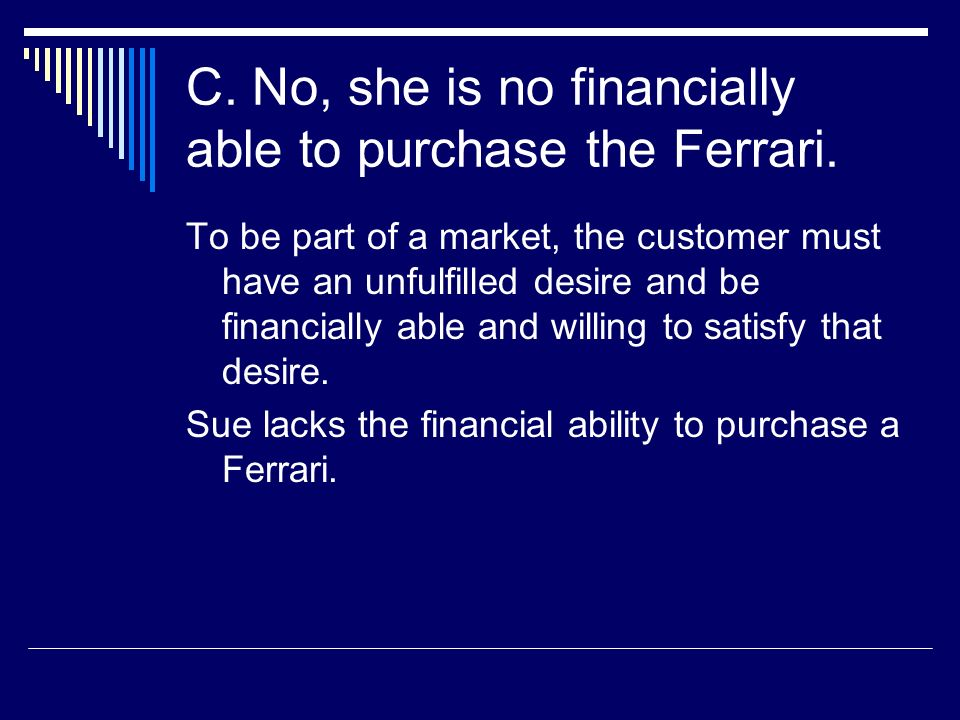 C. No, she is no financially able to purchase the Ferrari.