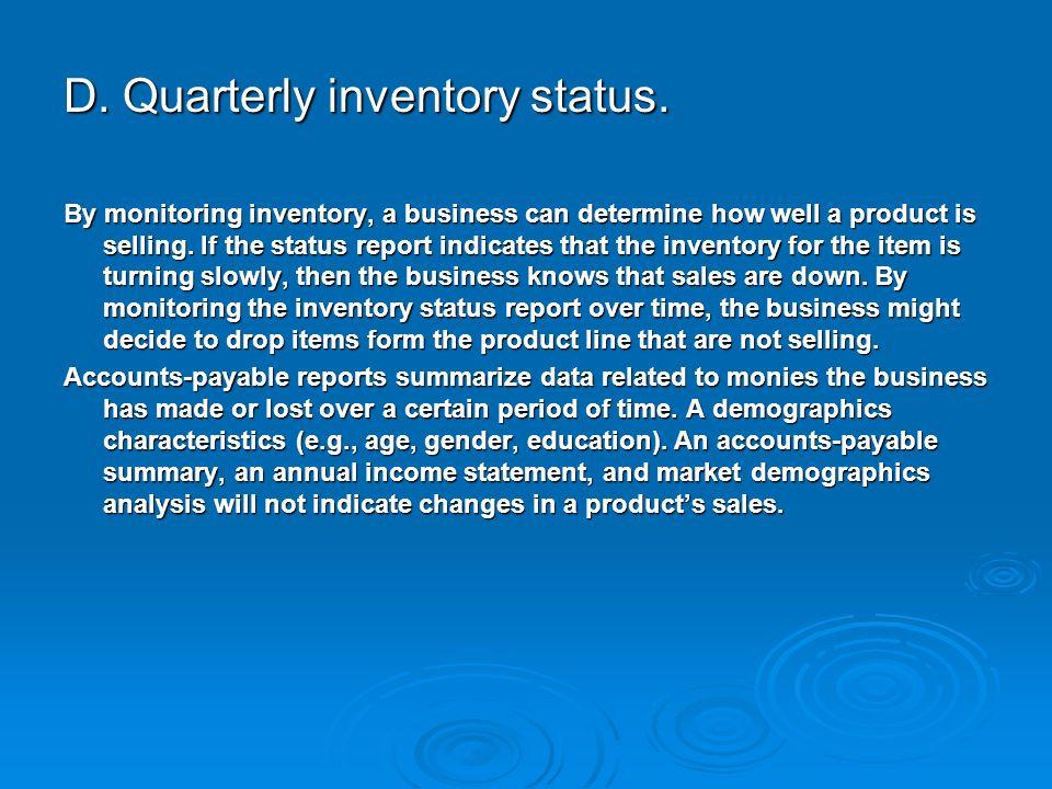D. Quarterly inventory status.