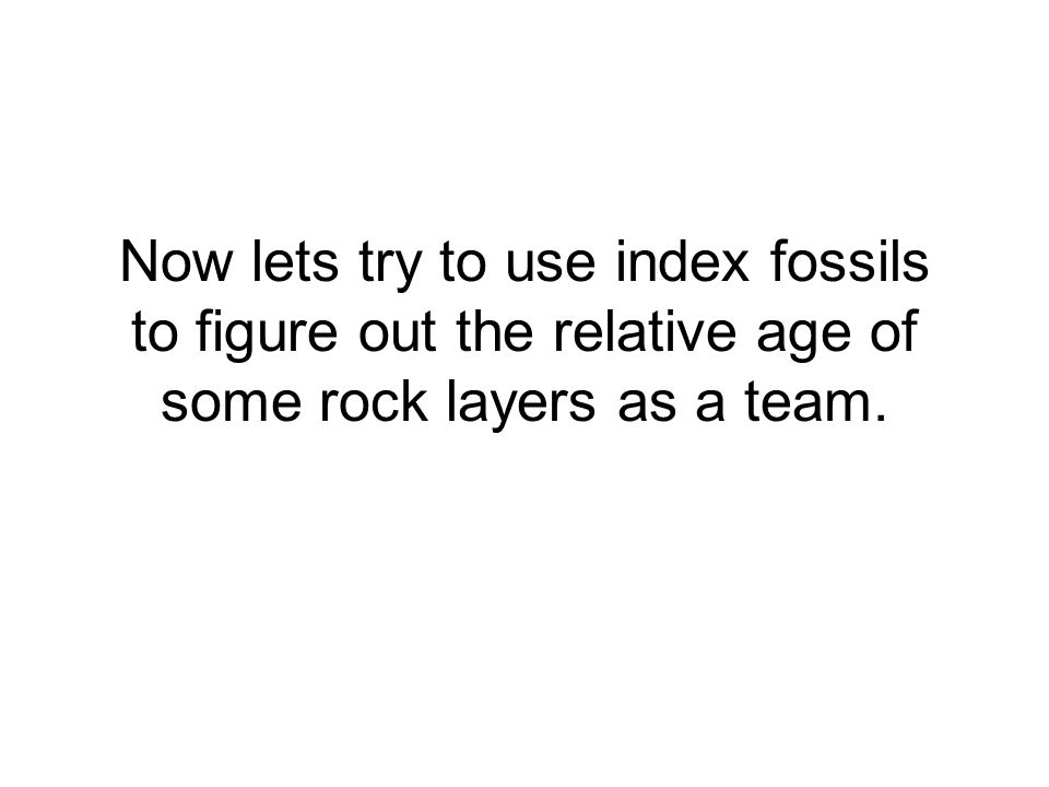 Now lets try to use index fossils to figure out the relative age of some rock layers as a team.