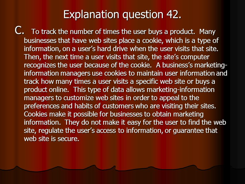 Explanation question 42.