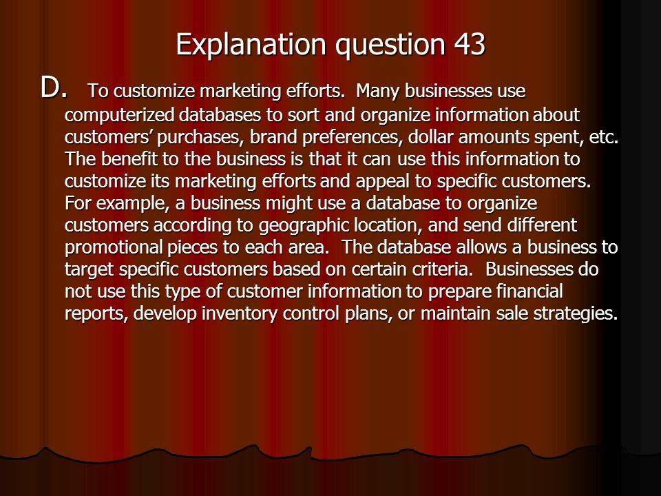 Explanation question 43