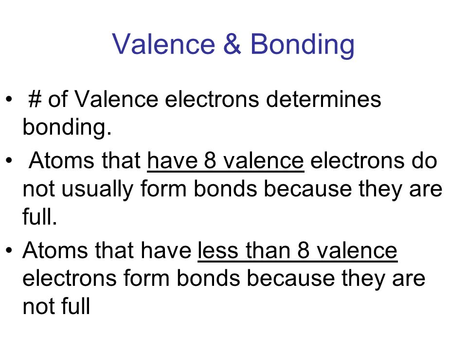 Valence & Bonding # of Valence electrons determines bonding.