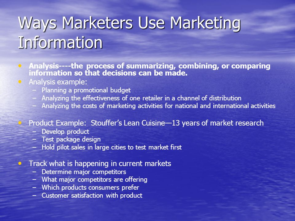 Ways Marketers Use Marketing Information