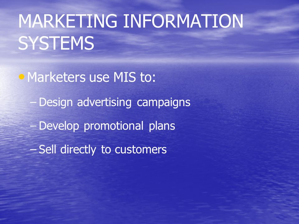 MARKETING INFORMATION SYSTEMS