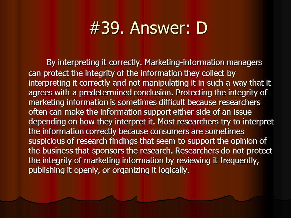 #39. Answer: D