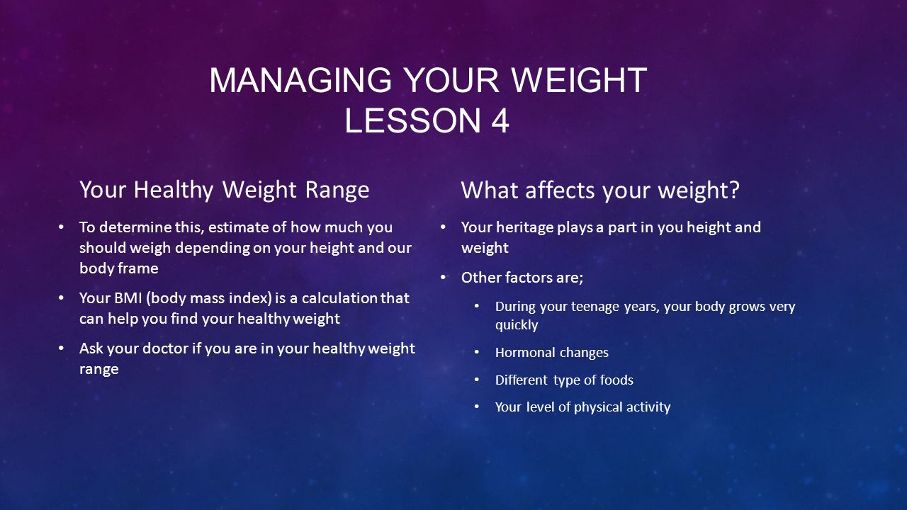 Managing your weight lesson 4