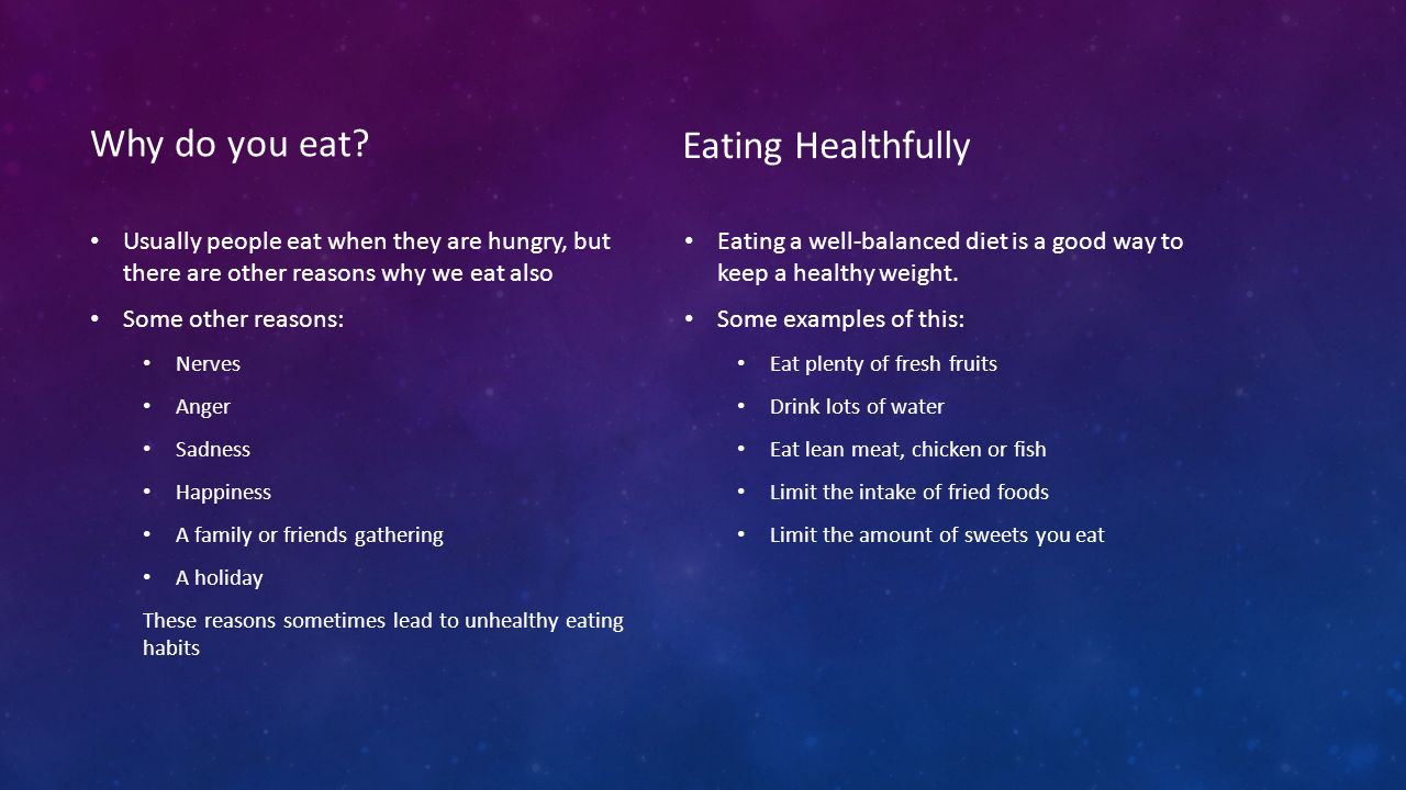 Why do you eat Eating Healthfully