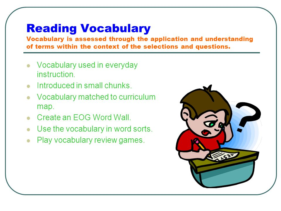 Reading Vocabulary Vocabulary is assessed through the application and understanding of terms within the context of the selections and questions.