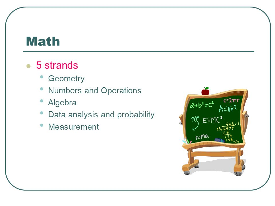 Math 5 strands Geometry Numbers and Operations Algebra