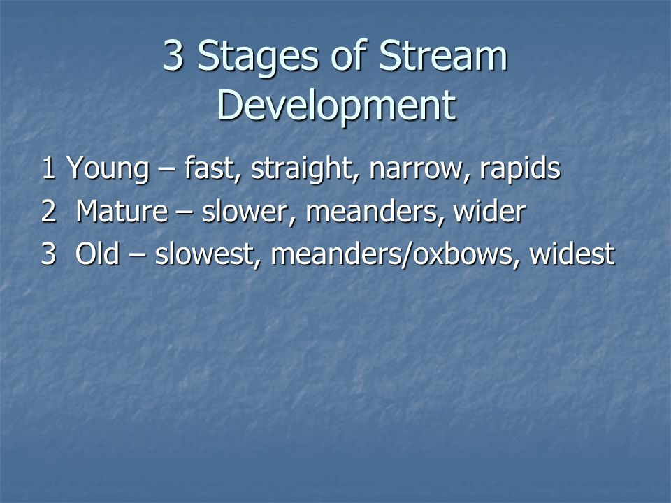 3 Stages of Stream Development