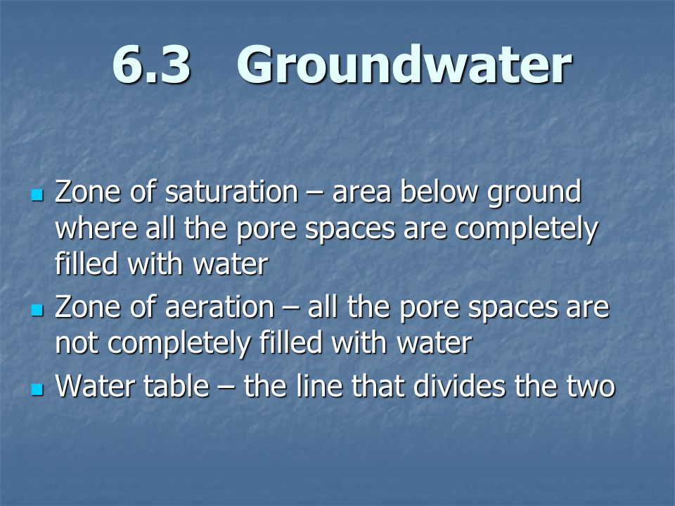 6.3 Groundwater Zone of saturation – area below ground where all the pore spaces are completely filled with water.