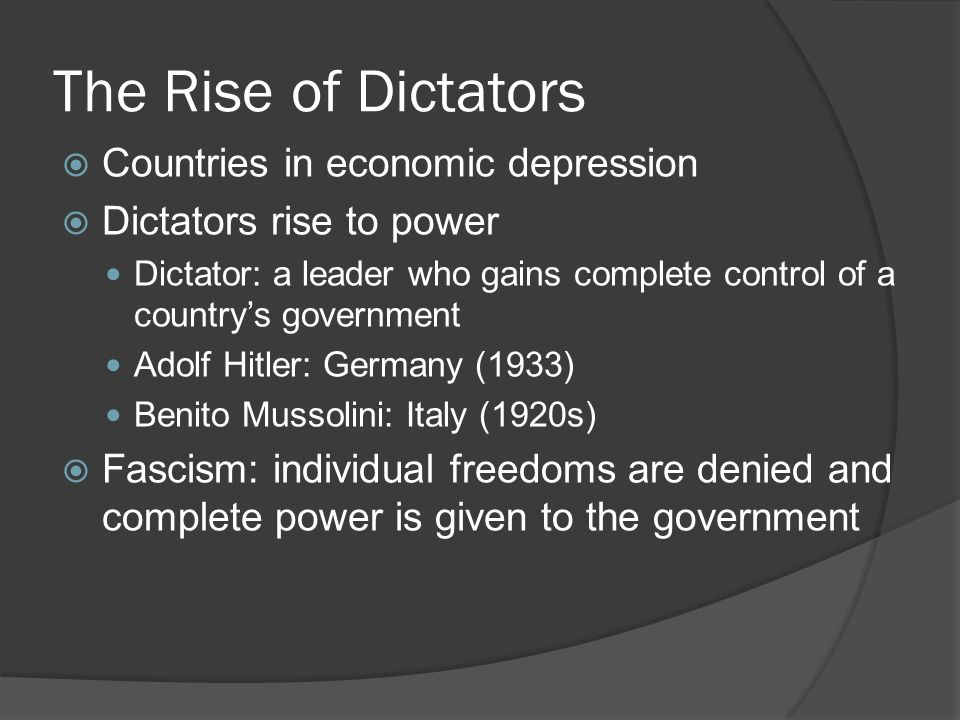 The Rise of Dictators Countries in economic depression