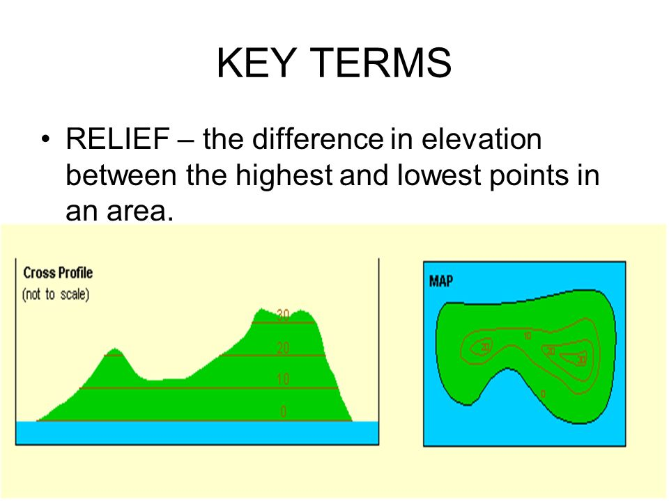 KEY TERMS RELIEF – the difference in elevation between the highest and lowest points in an area.