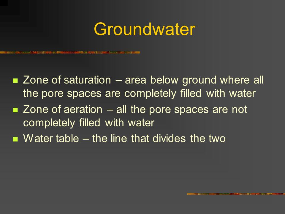 Groundwater Zone of saturation – area below ground where all the pore spaces are completely filled with water.