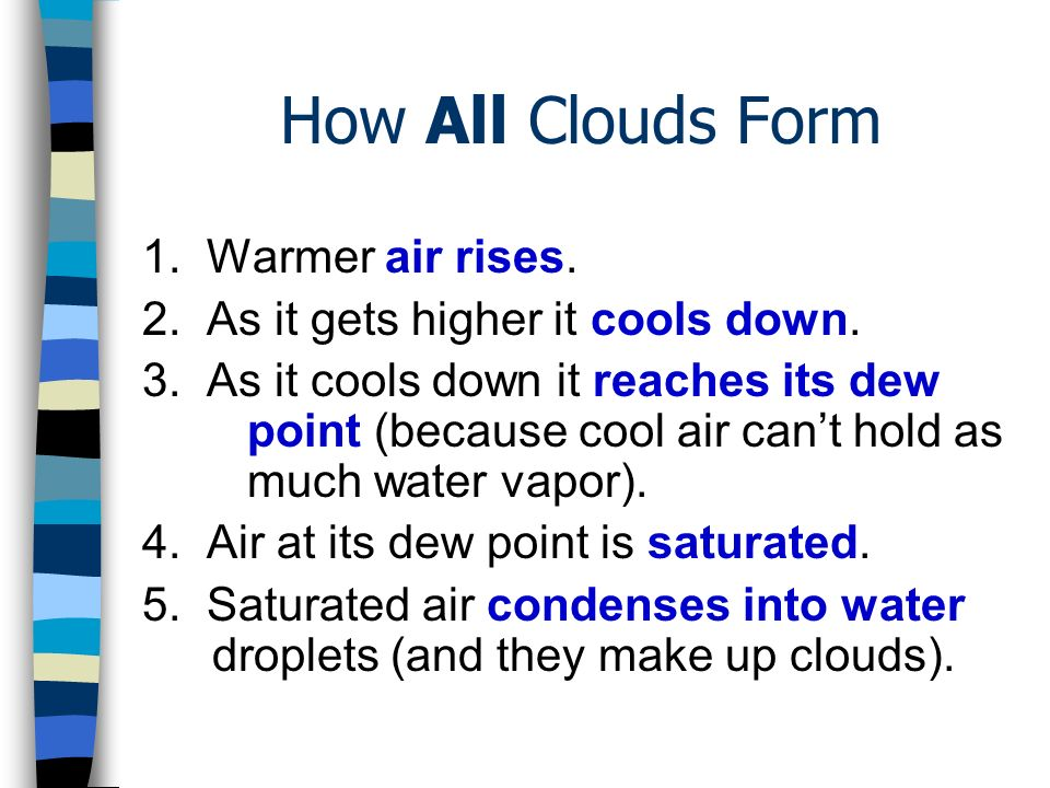 How All Clouds Form 1. Warmer air rises.