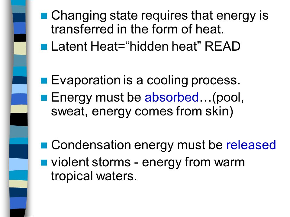 Changing state requires that energy is transferred in the form of heat.