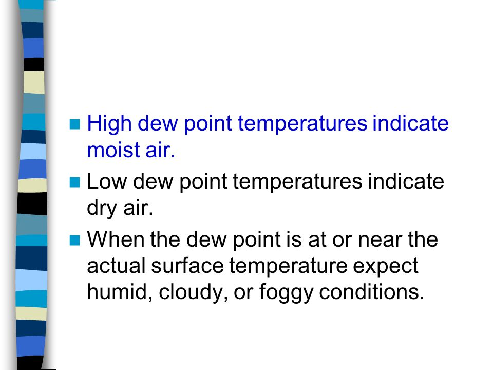 High dew point temperatures indicate moist air.
