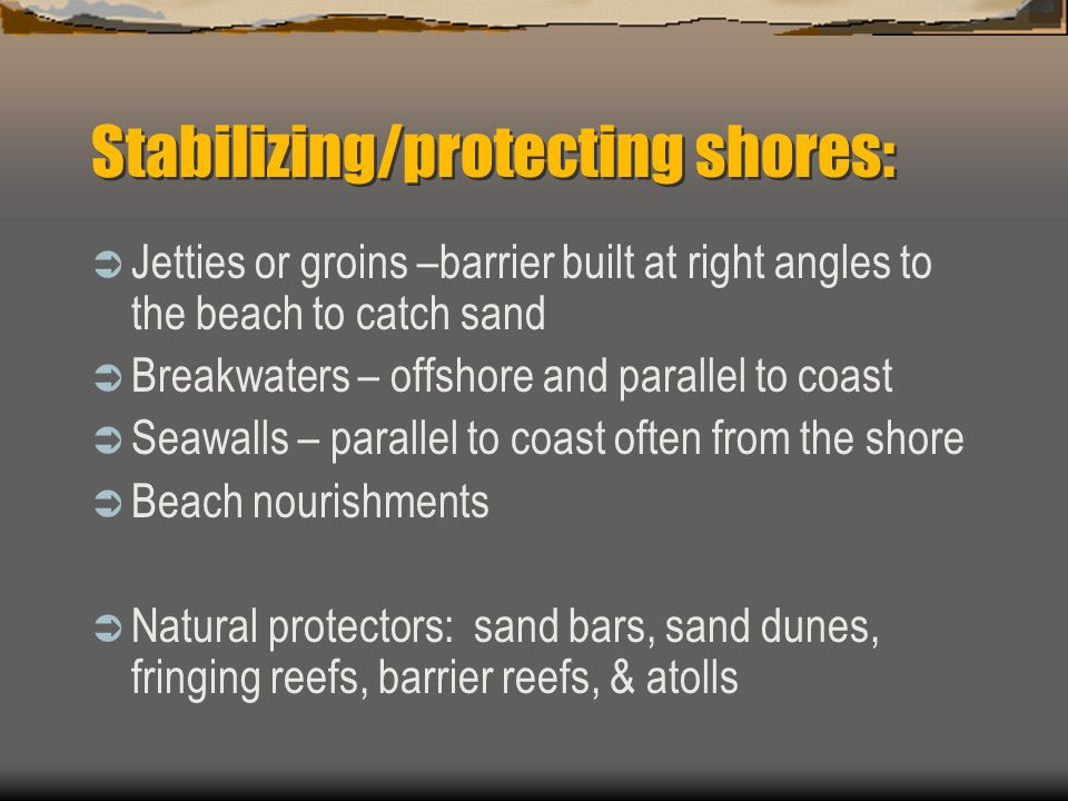 Stabilizing/protecting shores: