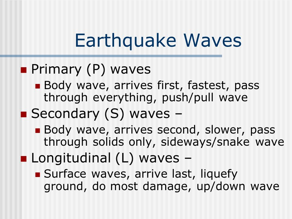 Earthquake Waves Primary (P) waves Secondary (S) waves –