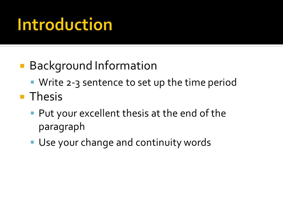 Introduction Background Information Thesis