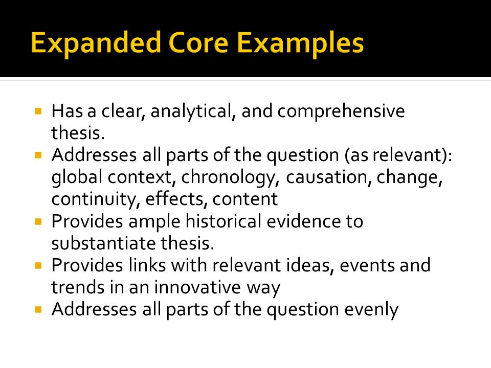 Expanded Core Examples